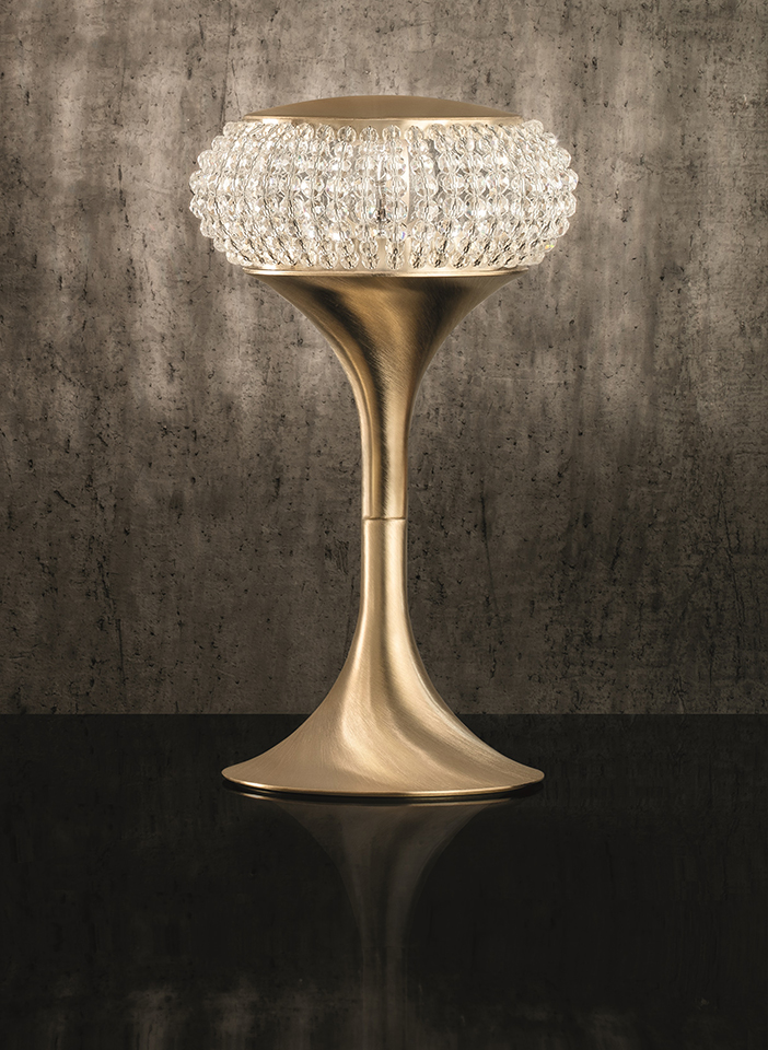 Metal structure, crystal spheres. Satin fabric lamp shades