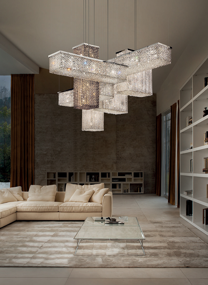 Chrome finish metal structure and crystal pendants
