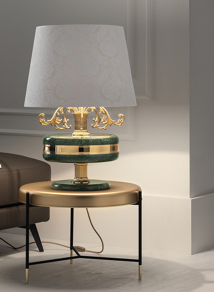 Solid cast brass frame, details in Guatemala green or Marquina black marble. Crystal pendants