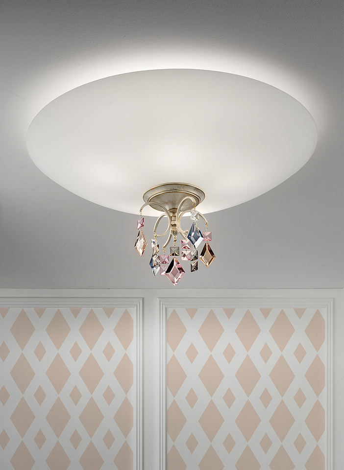 Metal frame with coloured crystal pendants|Metal frame with coloured crystal pendants
