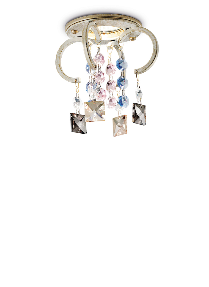Metal frame with coloured crystal pendants