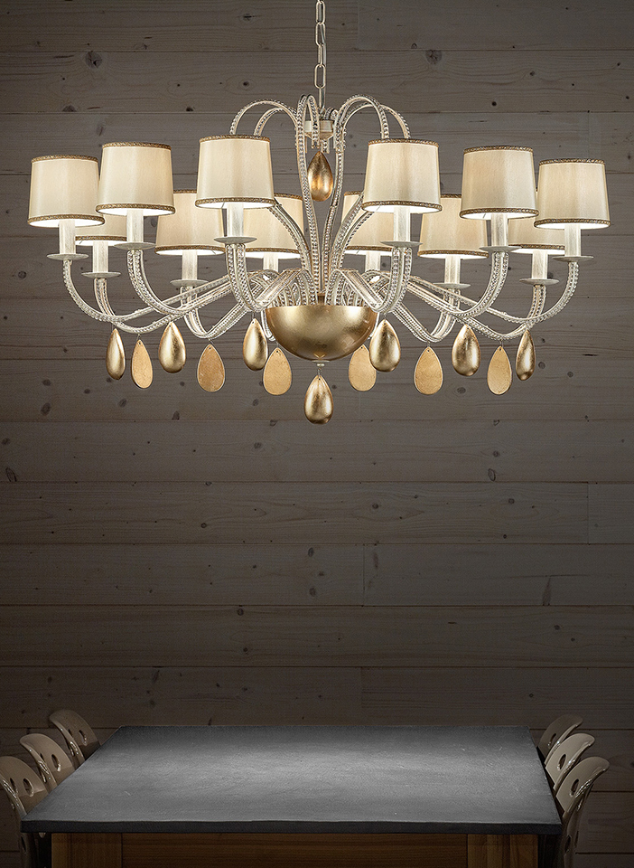 Metal frame decorated with transparent glass beads. Shantung fabric lampshades. Leaf pendants.|Metal frame decorated with transparent glass beads. Shantung fabric lampshades. Leaf pendants.|Metal frame decorated with transparent glass beads. Shantung fabric lampshades. Leaf pendants.