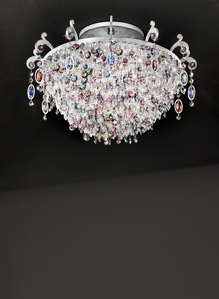 Metal frame with coloured glass inserts and pendants. Satin lampshades
