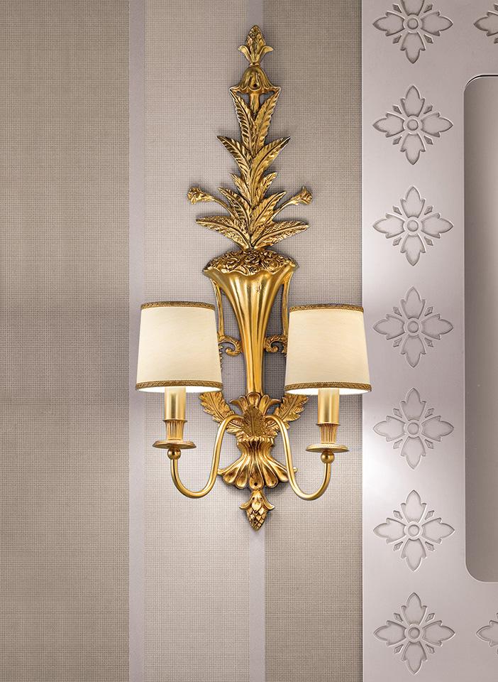 Gold cast brass frame Shantung lampshades