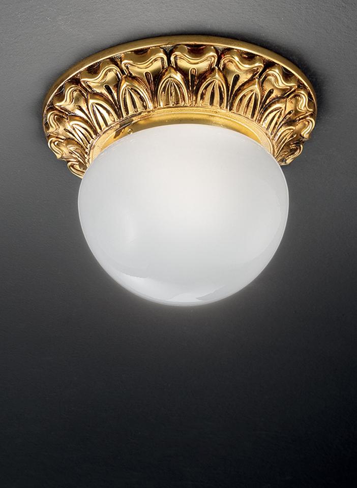 Gold plated solid brass frame, matt white glass
