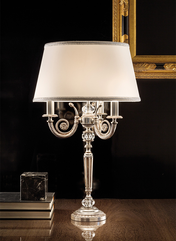 Antiqued plated solid brass frame. Shantung lampshades