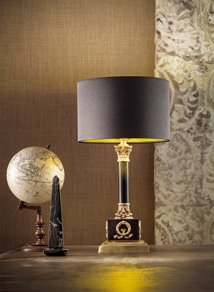 Gold cast brass frame Satin lampshades