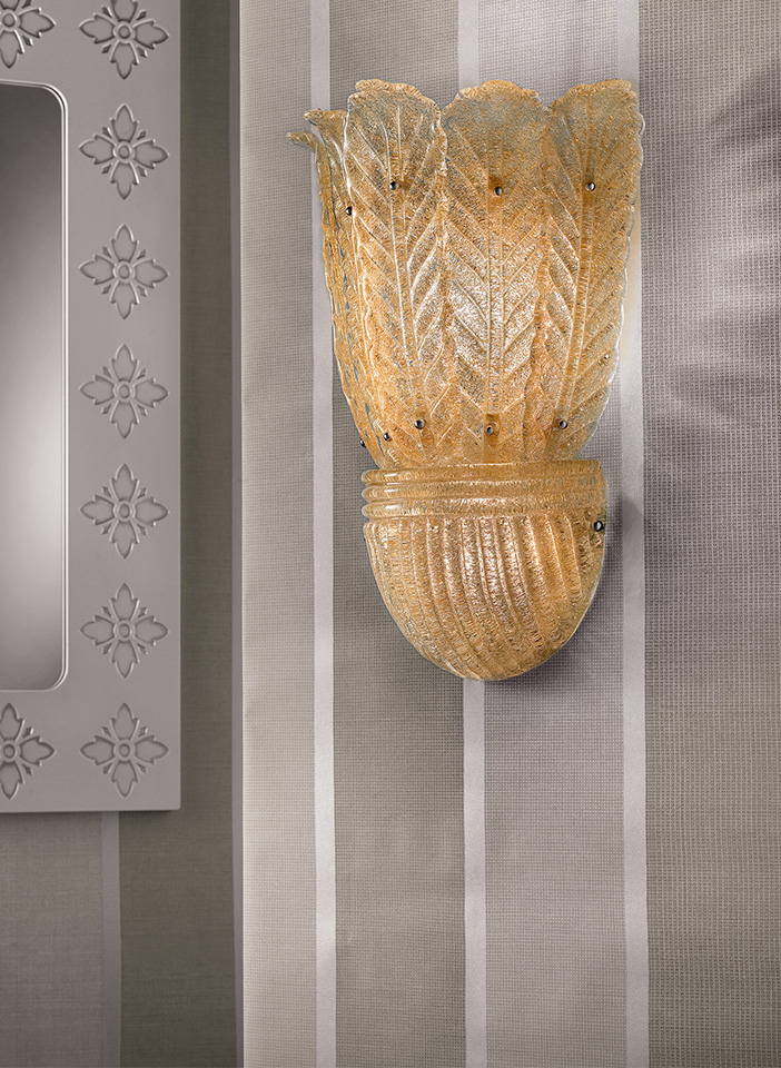 """Painted metal frame, diffuser in hand made cast glass with """"graniglia"""" finishing"""