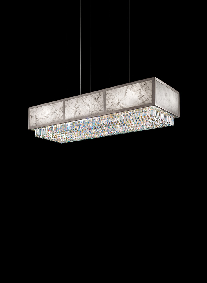 Metal frame. Crystal pendants. Marble panels