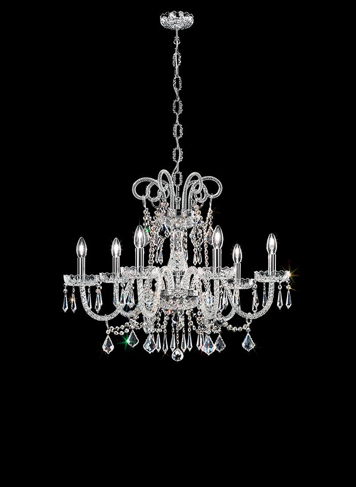Blown glass arm frame, crystal pendants